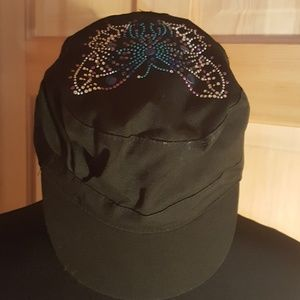 Accessories - Butterfly Hat!! Beautiful black with studded butte